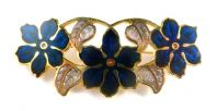 Cloisonne Enamel Blue Flower Brooch By Fish And Crown.